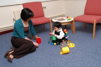 "Ainsworth place an infant in unfamiliar room filled with a variety of toys. A few minutes later, a strange person entered the room, and the mother left. The mother returned a few minutes later and then repeated the pattern of leaving and returning.   Securely attached infants responded to the Strange Situation by using their mother as a ""secure base"" to explore the room and displayed a positive reaction to their mother."