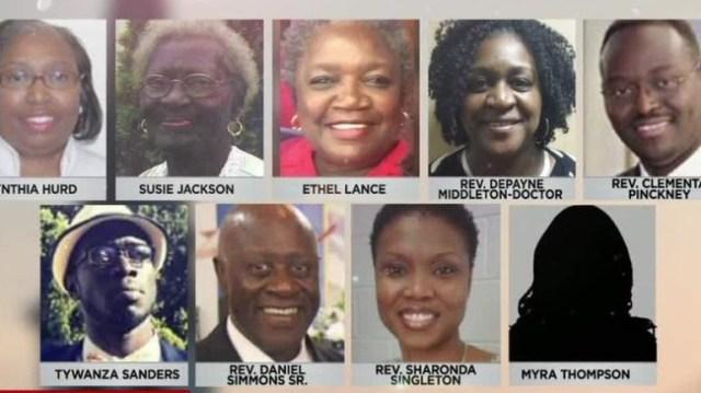 Nine victims of the Charleston church shooting. Top row: Cynthia Hurd, Rev. Clementa Pinckney, Rev. Sharonda Coleman-Singleton middle row: Daniel Simmons, Rev. Depayne Middleton Doctor, Tywanza Sanders Bottom row: Myra Thompson, Ethel Lee Lance,