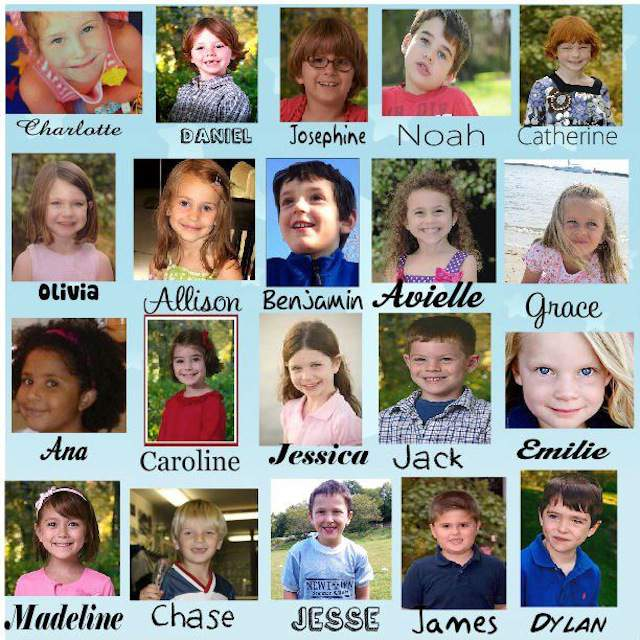 The names of 26 victims killed in a rampage at a Connecticut elementary school on Friday, Dec. 15, 2012
